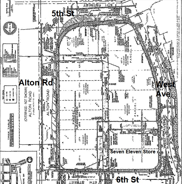 L shaped alley West Avenue to 6th Street,, 6,005 SF, 20' x 125 and 29' x 120', Resolution 2013-28343. City vacates alley 5th St to 6th Resolution 2005-25869